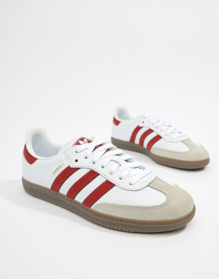 adidas samba og trainers white/red