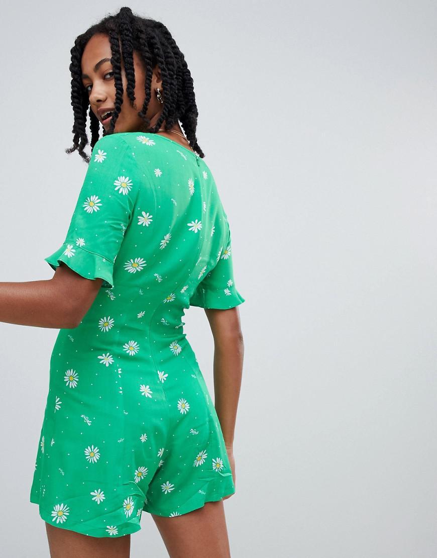 621ac5461ea Reclaimed (vintage) Inspired Romper In Green Daisy Print in Green - Lyst
