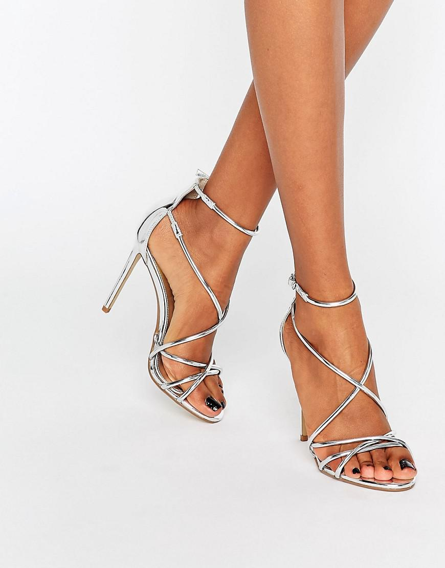 a19e6e72c2 Office Spindle Silver Mirror Strappy Heeled Sandals in Metallic - Lyst