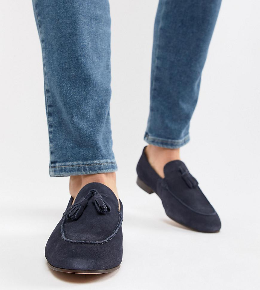66c1668ca58 H by Hudson Wide Fit Bolton Tassel Loafers In Navy Suede in Blue for ...