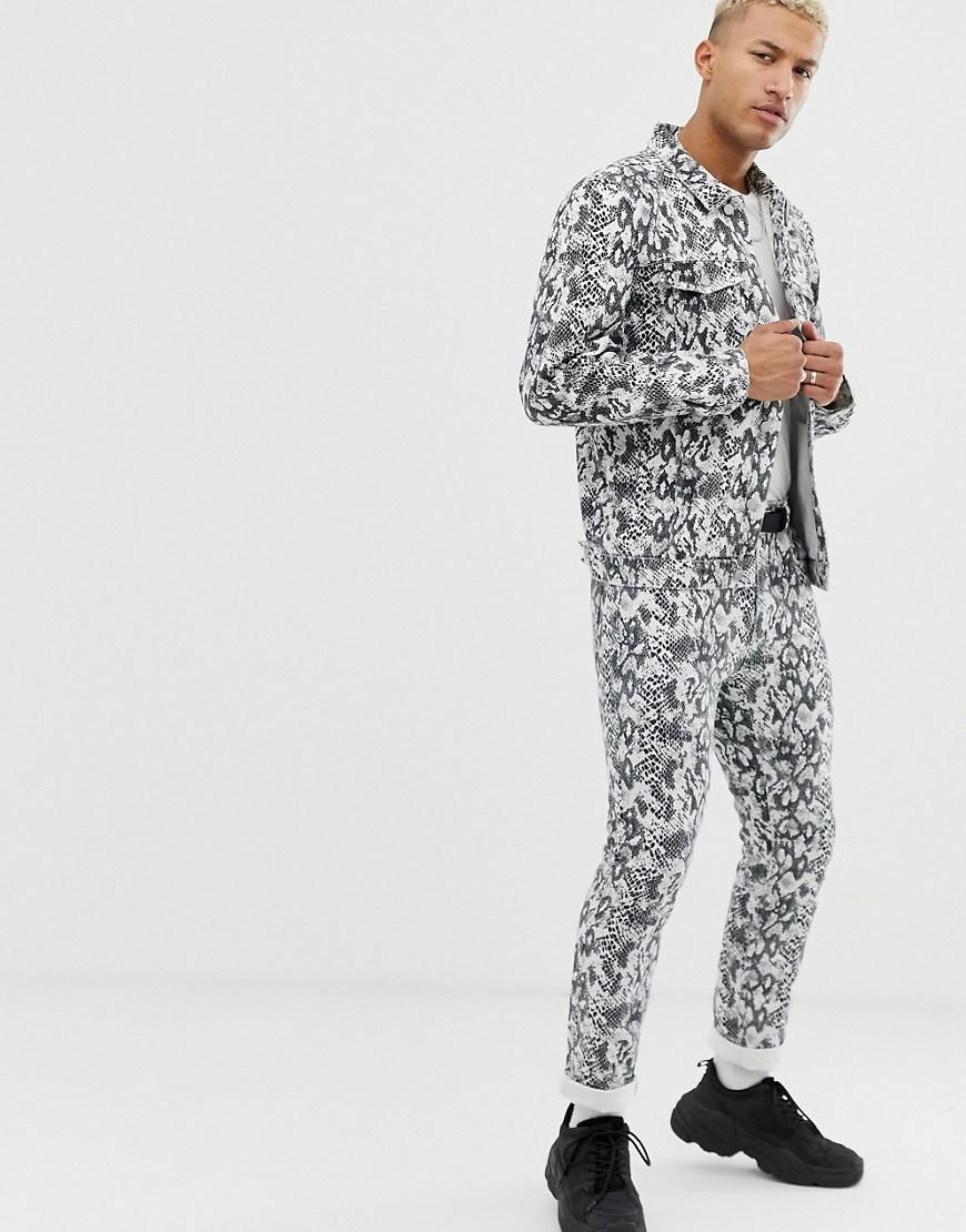 Pull&Bear Co-ord Denim Jacket In Snake Print in Natural ...