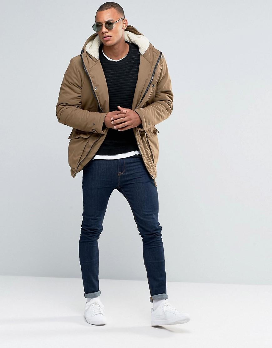 Lyst D Struct Sherpa Lined Parka Jacket In Brown For Men