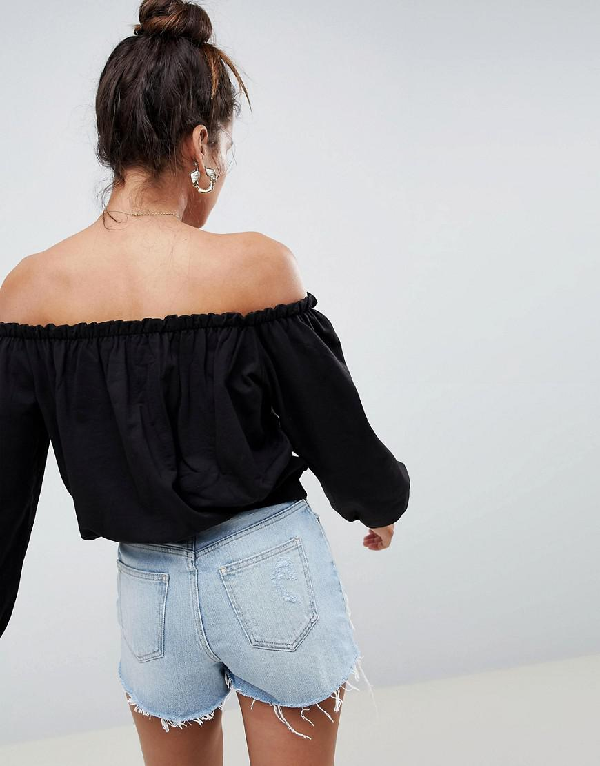52e466f414935 Lyst - Asos Design Off Shoulder Top With Pretty Ruffle Detail in Black