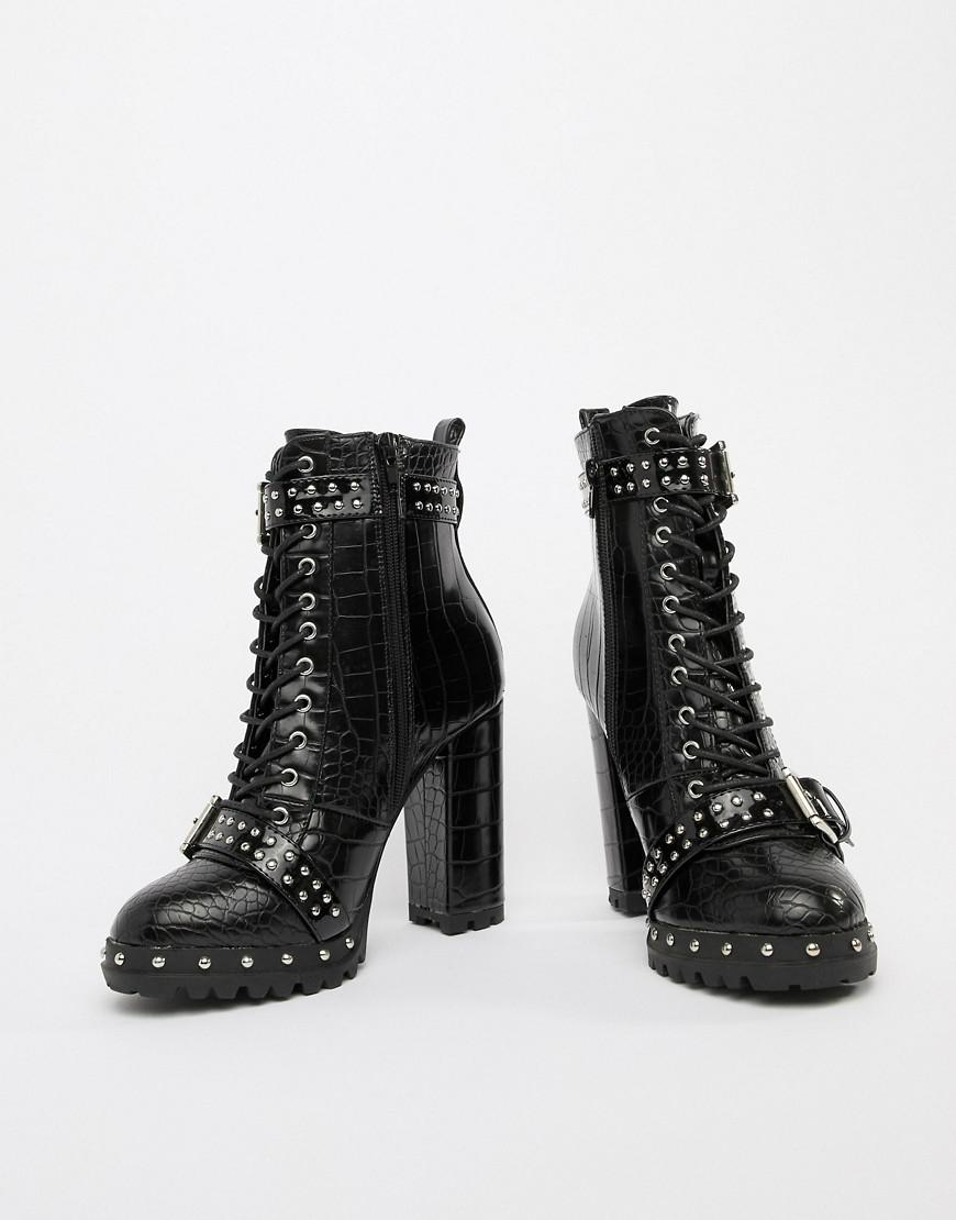 f8e46d876cd6 Prettylittlething Lace Up Heeled Croc Boots In Black in Black - Lyst
