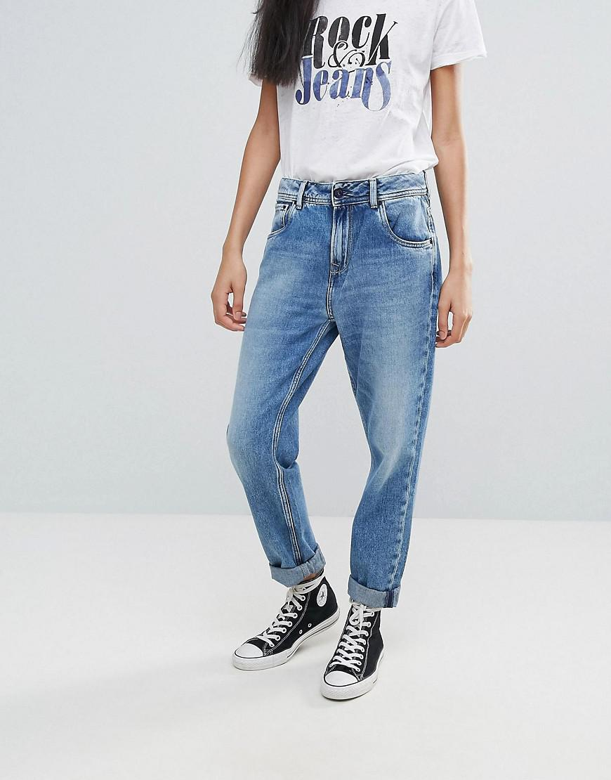Patchy Panelled Cropped Boyfriend Jeans - Mid blue Pepe Jeans London