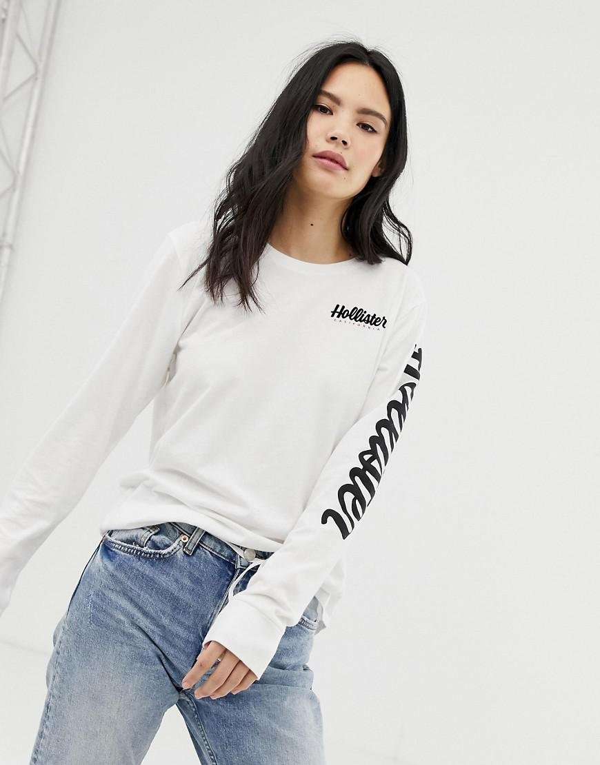 b18a8d4f Hollister Flock Long Sleeve Tshirt With Back Logo in White - Lyst