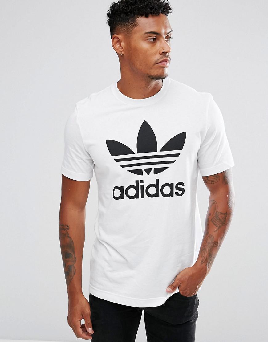 Lyst adidas originali t - shirt con trifoglio logo aj8828 in nero