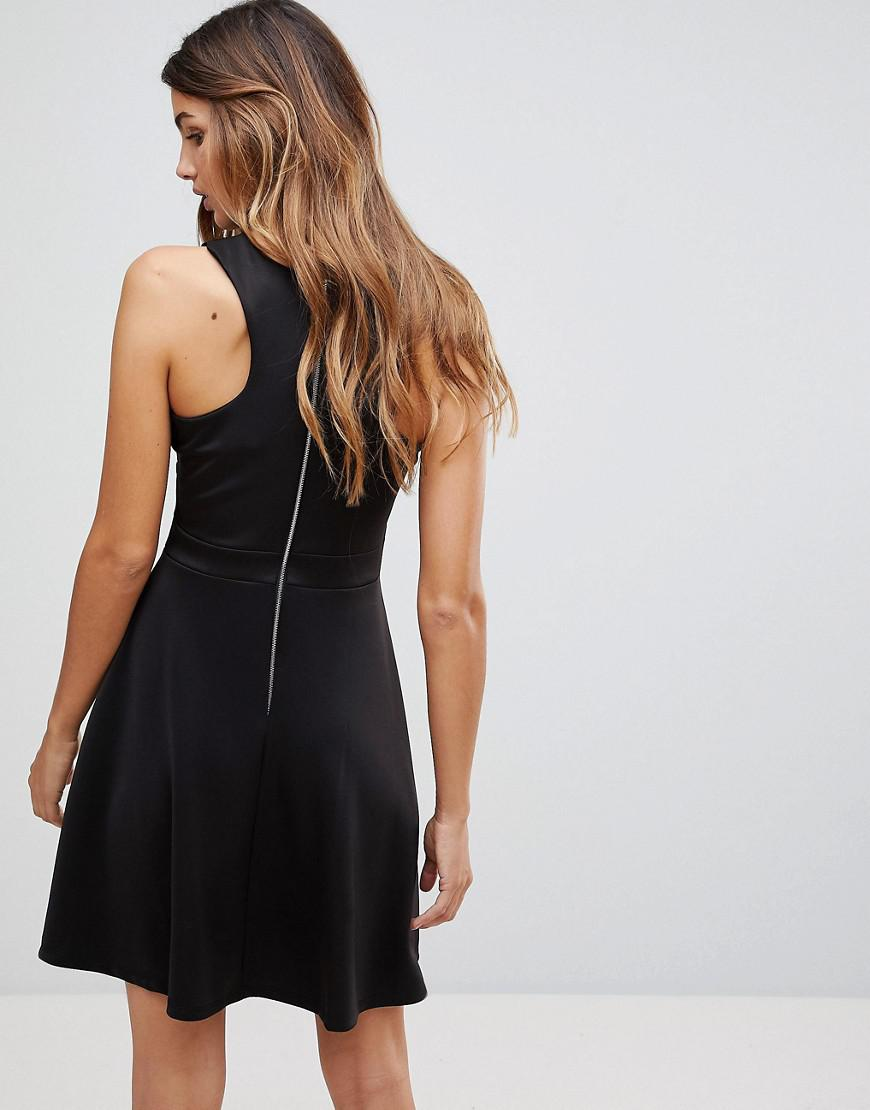 Lyst - Wal-G Skater Dress With Deep Mesh Insert in Black 73defa28c
