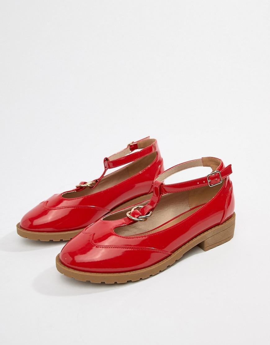 4abfbc797af7 ASOS Wide Fit Maxy Double Ring Flat Shoes in Red - Lyst