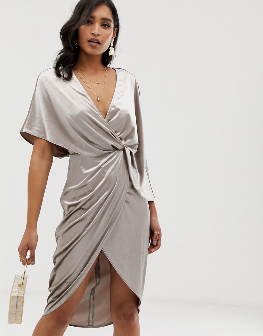 bfff560599 Lyst - Asos Midi Dress In Velvet With Asymmetric Kimono Sleeve in ...