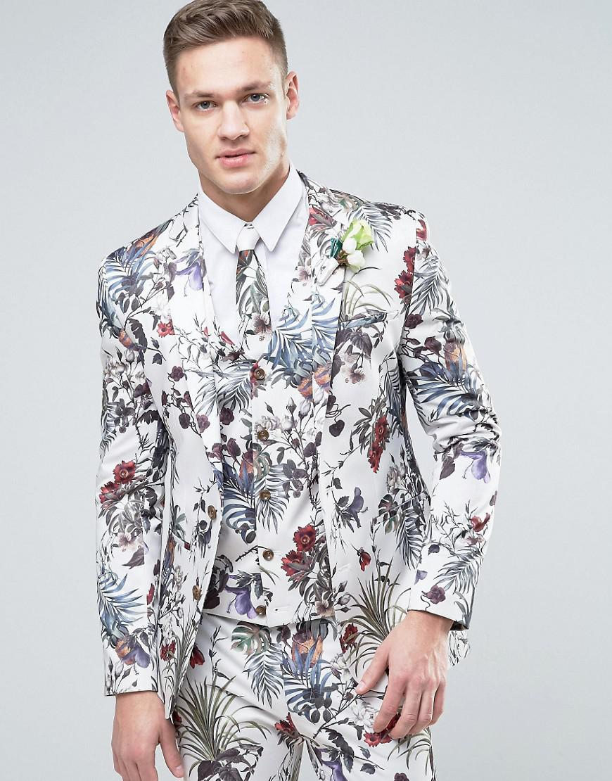 Lyst - Asos Wedding Super Skinny Suit Jacket In Cream Floral Print ...