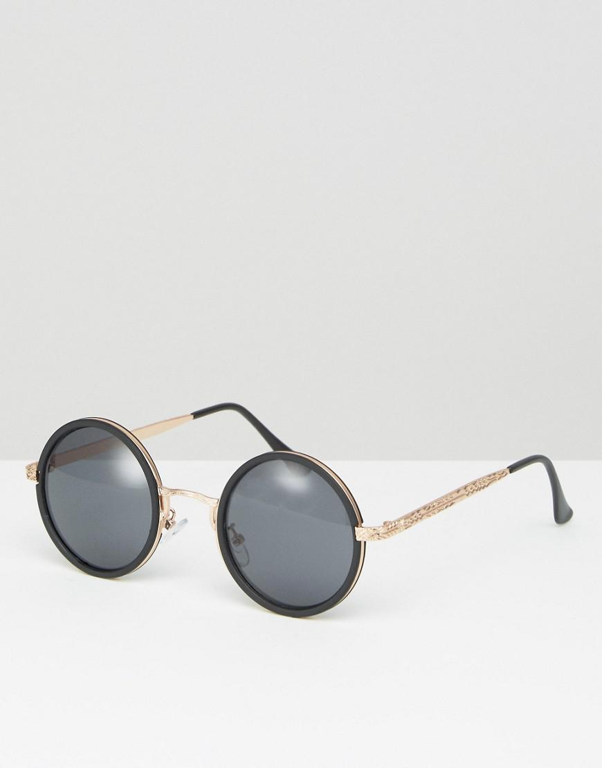 f7df9f3b500 Lyst - Asos Round Sunglasses In Black With Rose Gold in Black for Men