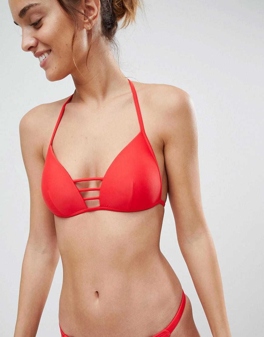 9d98464b0a291 Lyst - South Beach Red Moulded Triangle Bar Detail Bikini Set in Red
