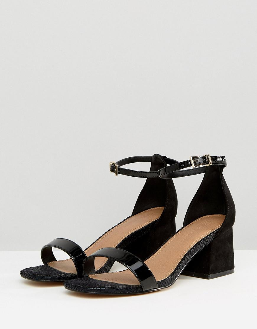 a32cad09430 Lyst - ASOS Wide Fit Honeydew Block Heeled Sandals in Black