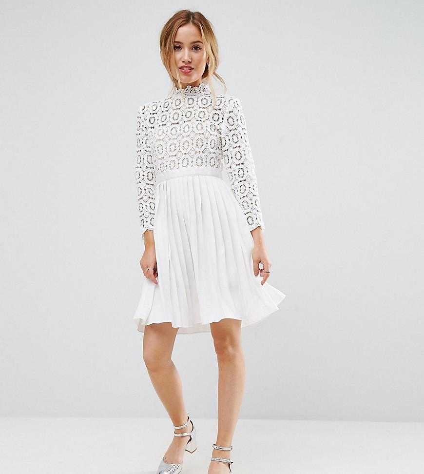 bae1d113fb Lyst - Little Mistress 3 4 Sleeve Lace Top Pleated Mini Dress in White
