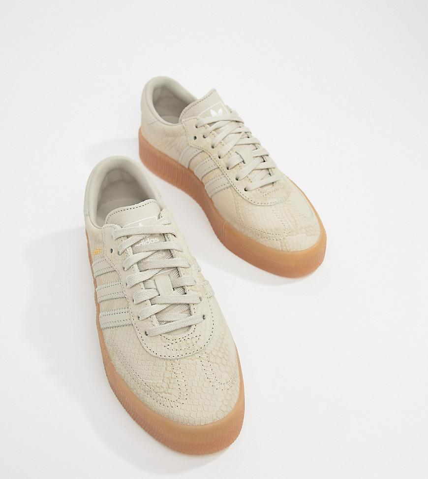 adidas Originals. Women s Natural Samba Rose Sneakers In Tan With Gum Sole 02dfc6305