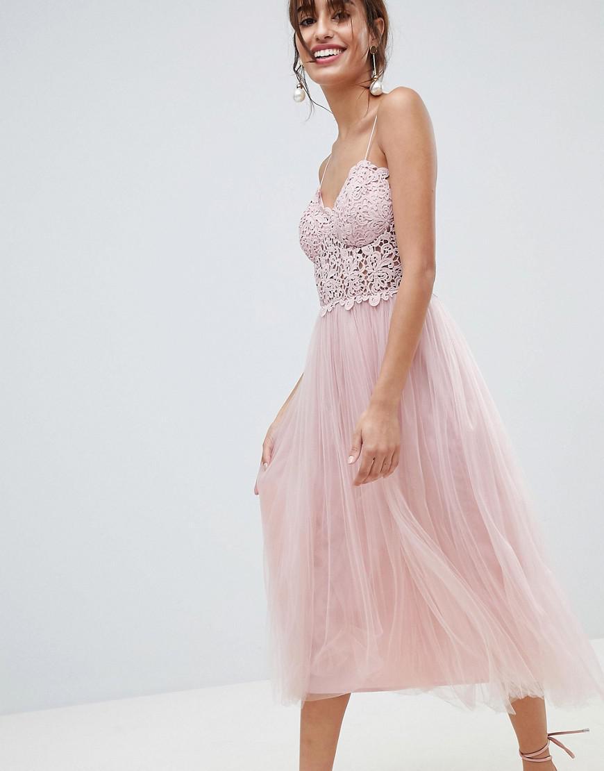 6fb21bcb6c09d ASOS - Pink Premium Lace Cami Top Tulle Midi Dress - Lyst. View fullscreen
