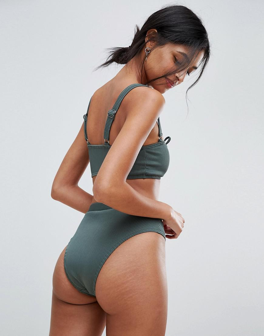 bd287985e7 South Beach Exclusive Ribbed High Leg Bikini Bottom In Forest Green in  Green - Lyst