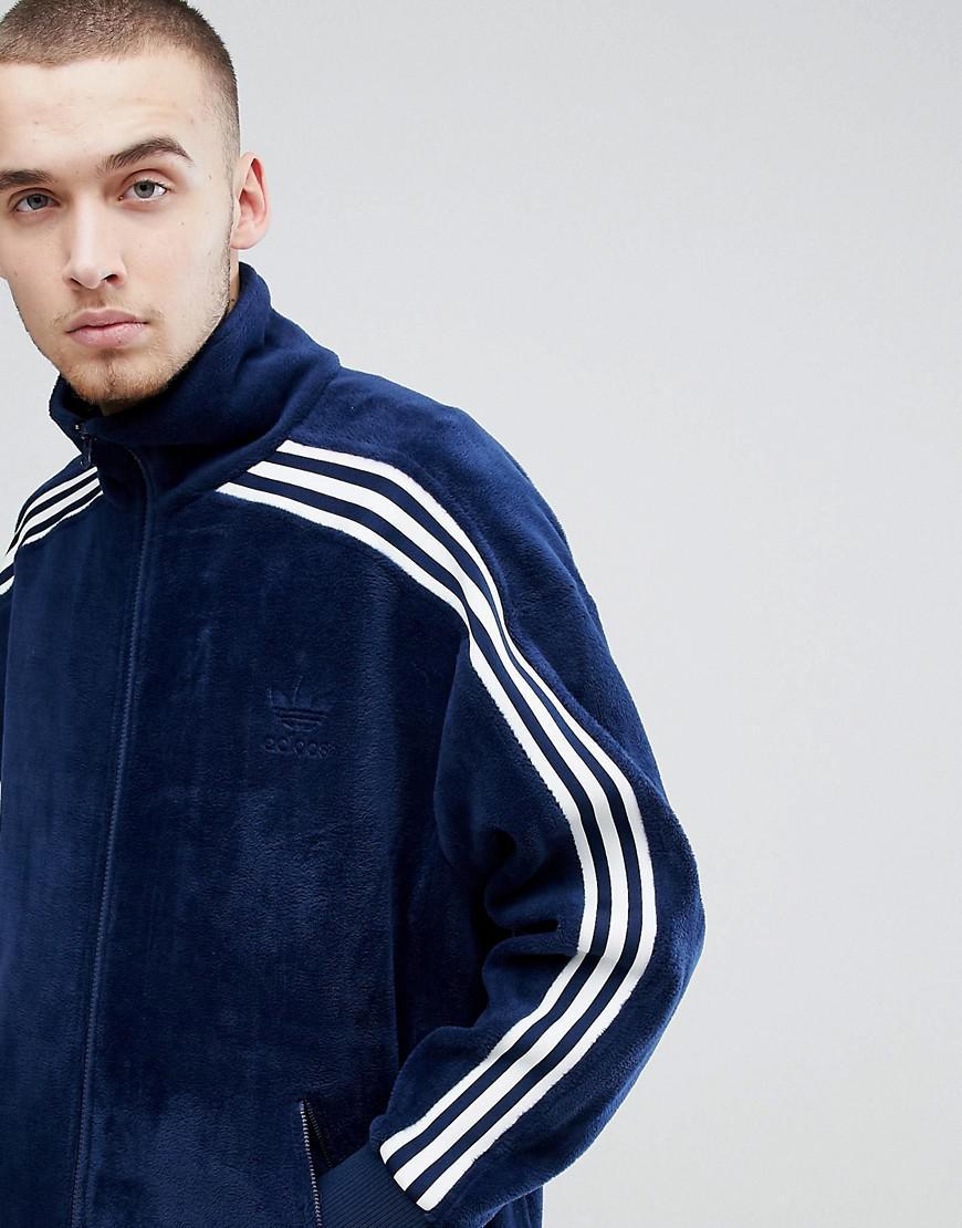738785babb9b78 adidas Originals Adicolor Velour Track Jacket In Oversized Fit In ...