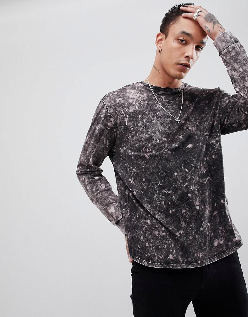 DESIGN super longline t-shirt with curved hem in grey bleach wash - Grey Asos Marketable For Sale Nicekicks Online Free Shipping Eastbay Popular Online 6Ruetncz