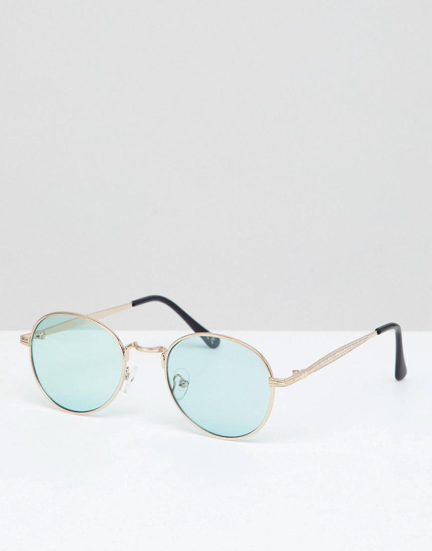 60b848cae7 ASOS Metal Round Sunglasses In Gold With Green Lens in Metallic for ...