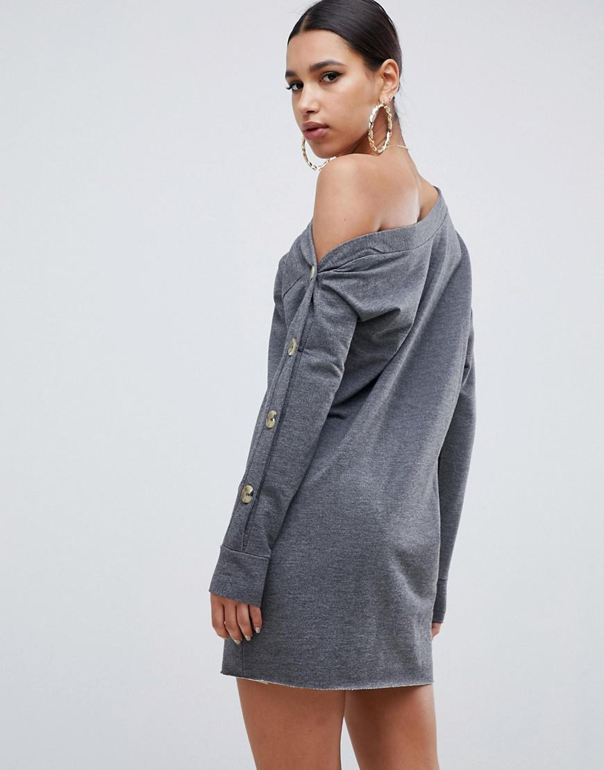 e82af882b9 Lyst - ASOS Off Shoulder Sweat Dress With Faux Horn Button Sleeve in Gray