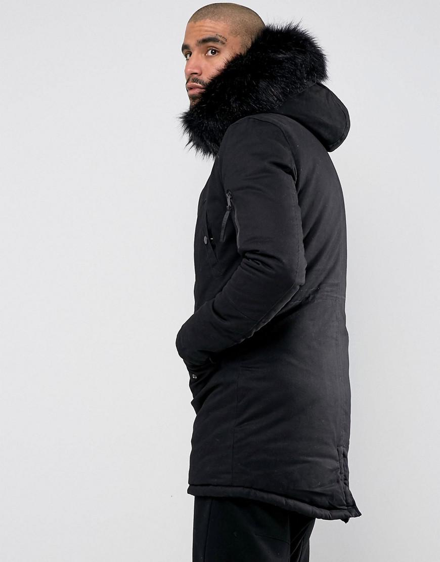 45f0f1591f324 Lyst - Sixth June Parka Coat In Black With Black Faux Fur Hood in Black for  Men - Save 38%