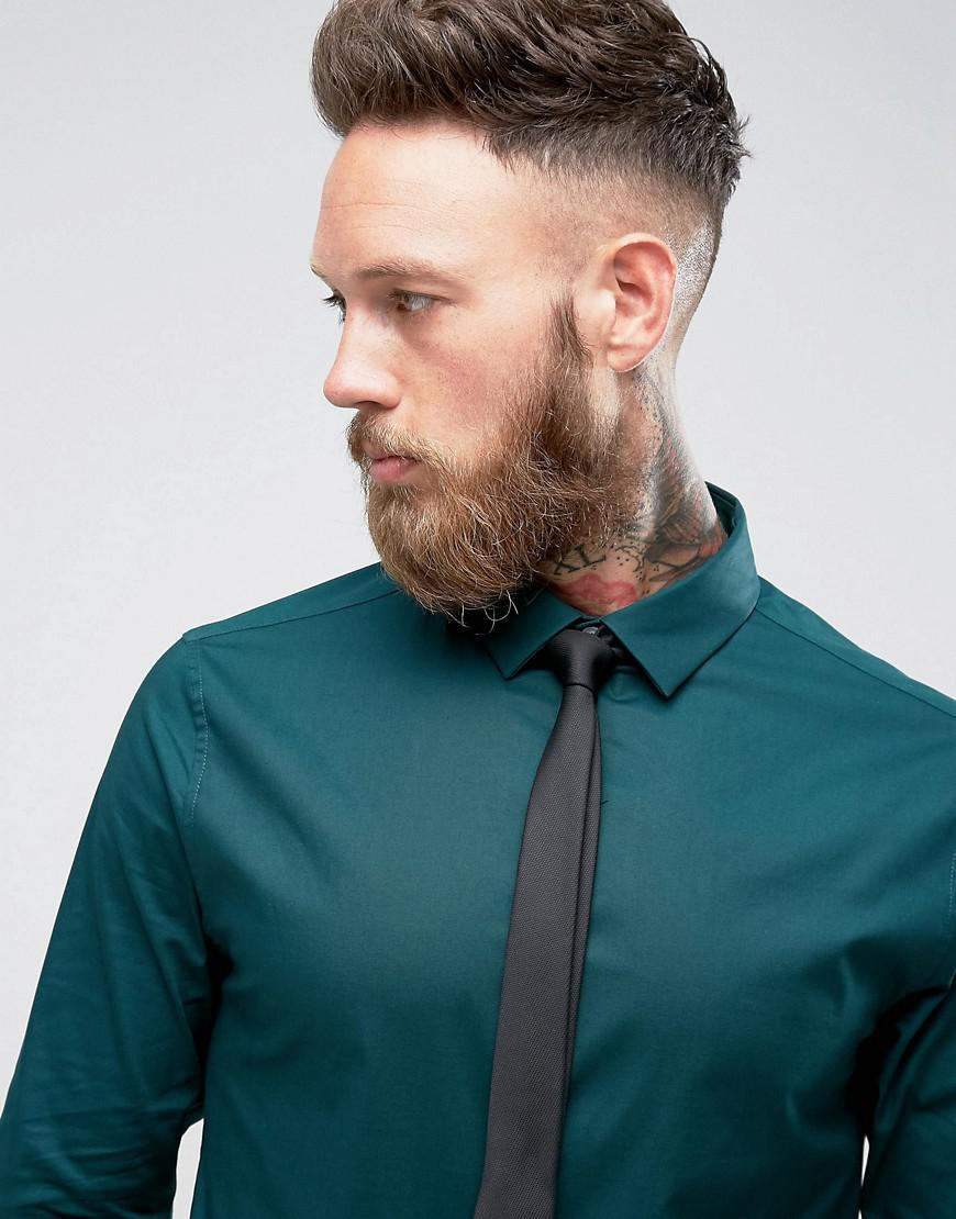 Teal dress shirt black tie
