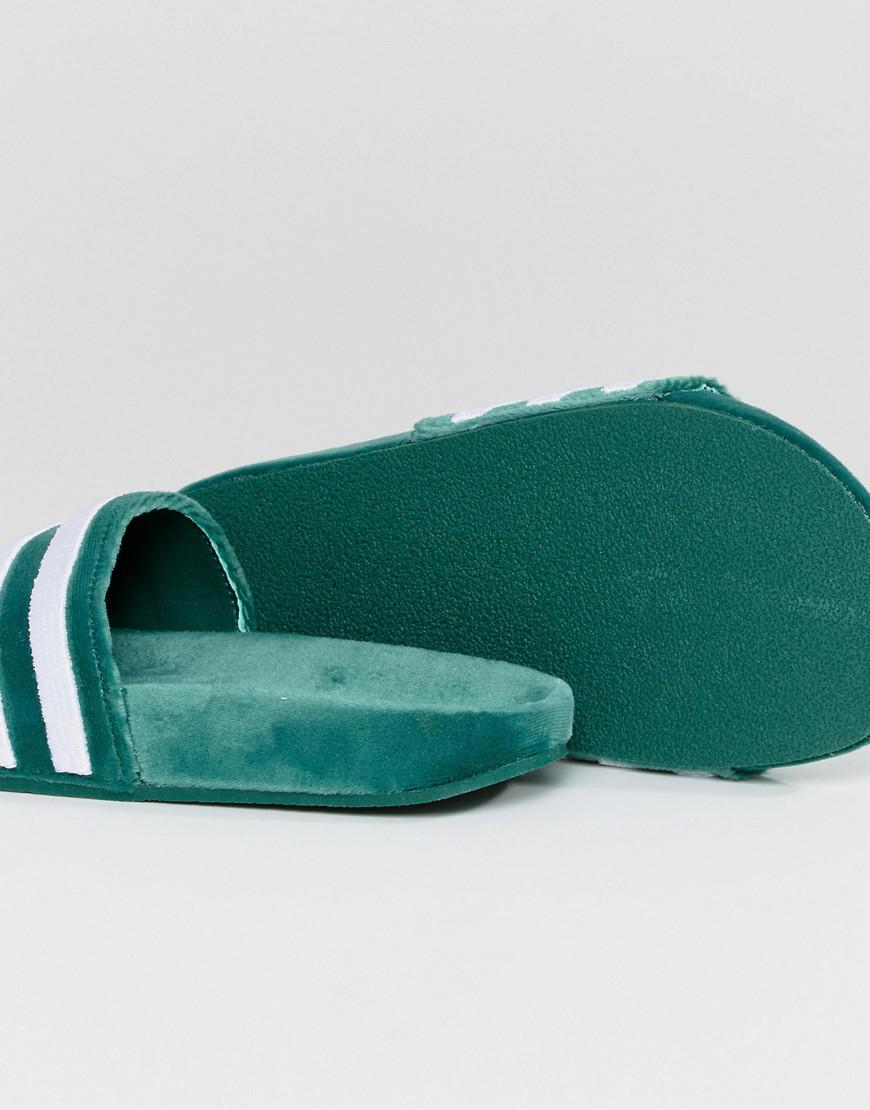 on sale b7c47 10551 Lyst - adidas Originals Adilette Velvet Slides in Green