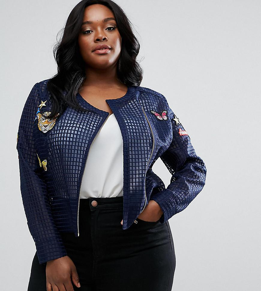 7b49686ef869 ASOS Premium Mesh Jacket With Badges in Blue - Lyst