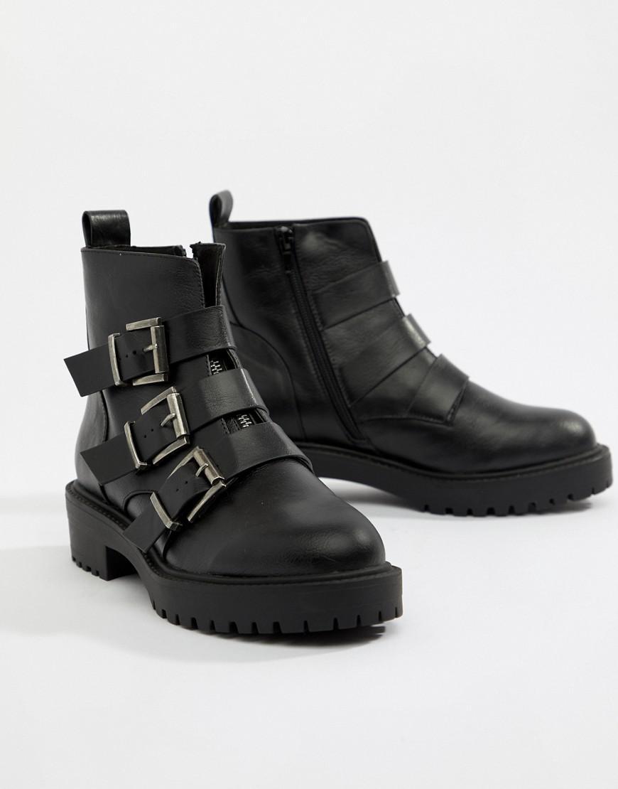 cb2fffe02aea Lyst - ASOS Arco Chunky Multi Buckle Ankle Boots in Black