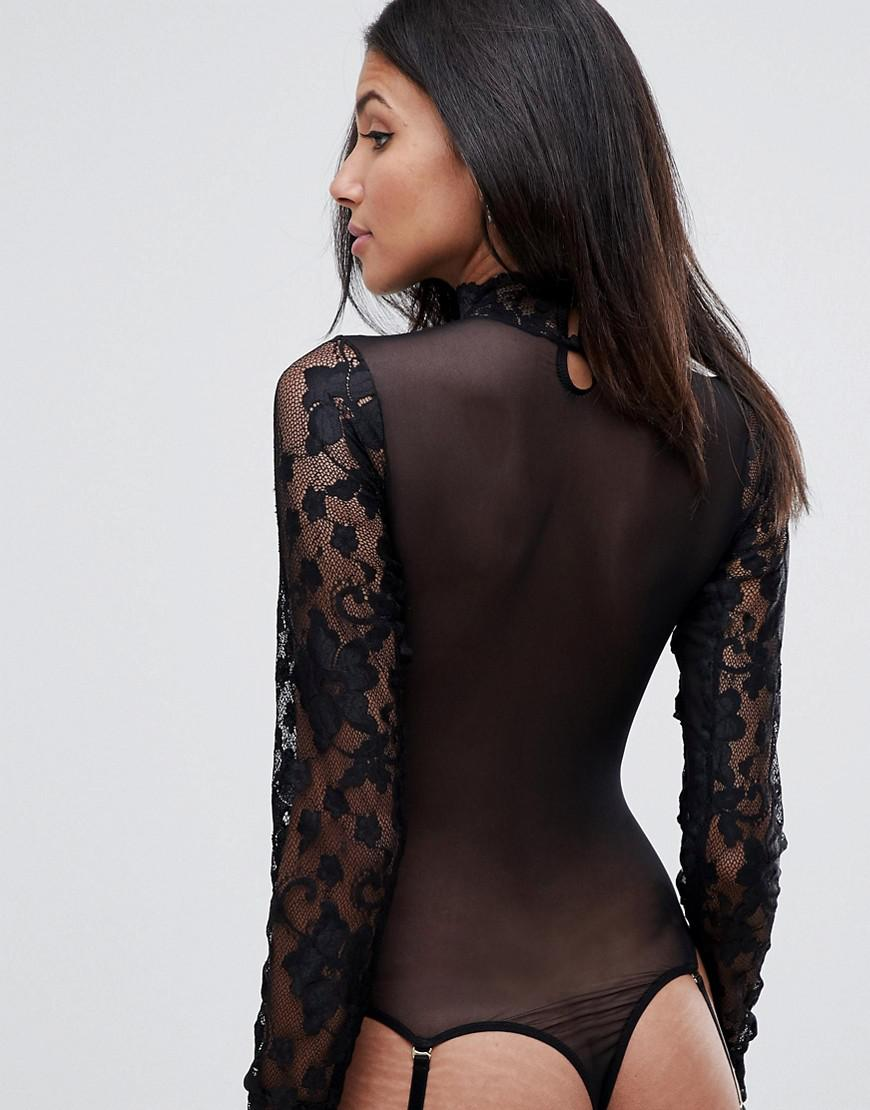 Lyst - ASOS Asos Design Tall High Neck Lace   Mesh Long Sleeve Thong Body  in Black - Save 29% b267d44d6