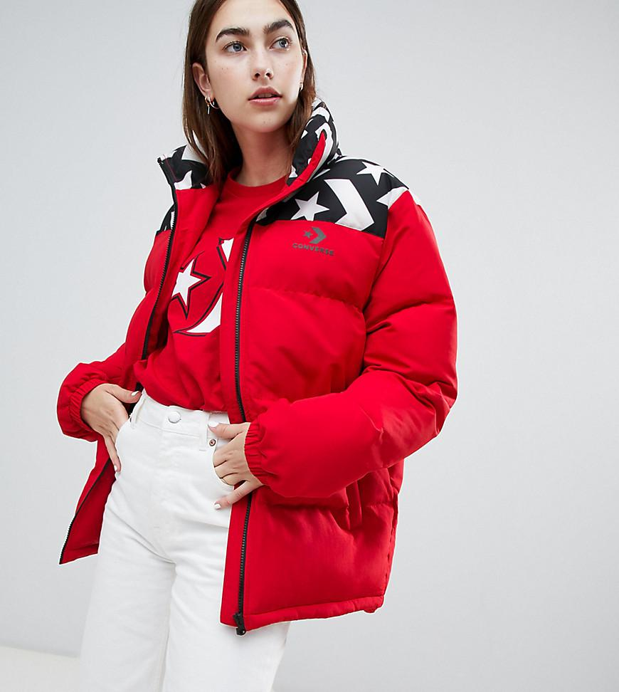 eb76f080324456 Converse Oversized Exclusive Red Padded Jacket in Red - Lyst