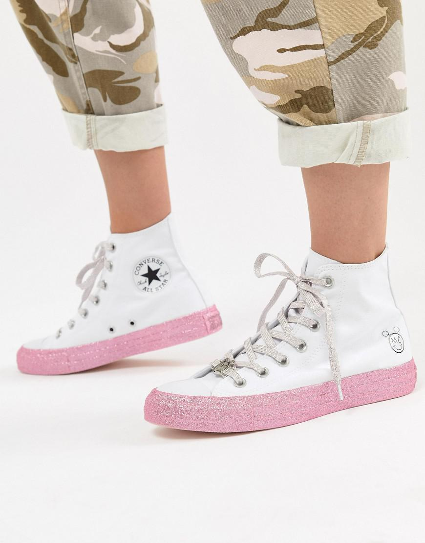 Converse X Miley Cyrus Chuck Taylor All Star Hi Trainers In White And Silver Glitter geniue stockist for sale mezA0gb