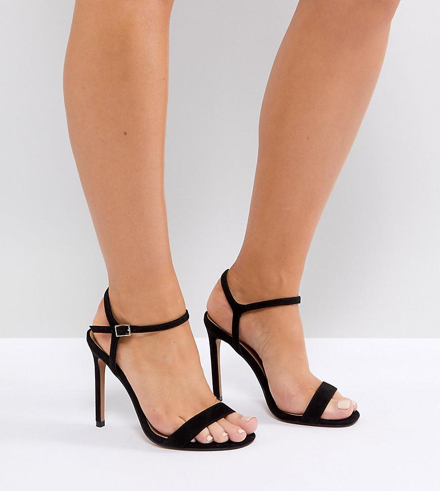 d8b158d8a81c Lyst - ASOS Wide Fit Hands Down Barely There Heeled Sandals in Black
