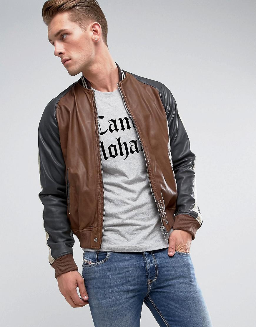 Diesel men's l themal leather jacket