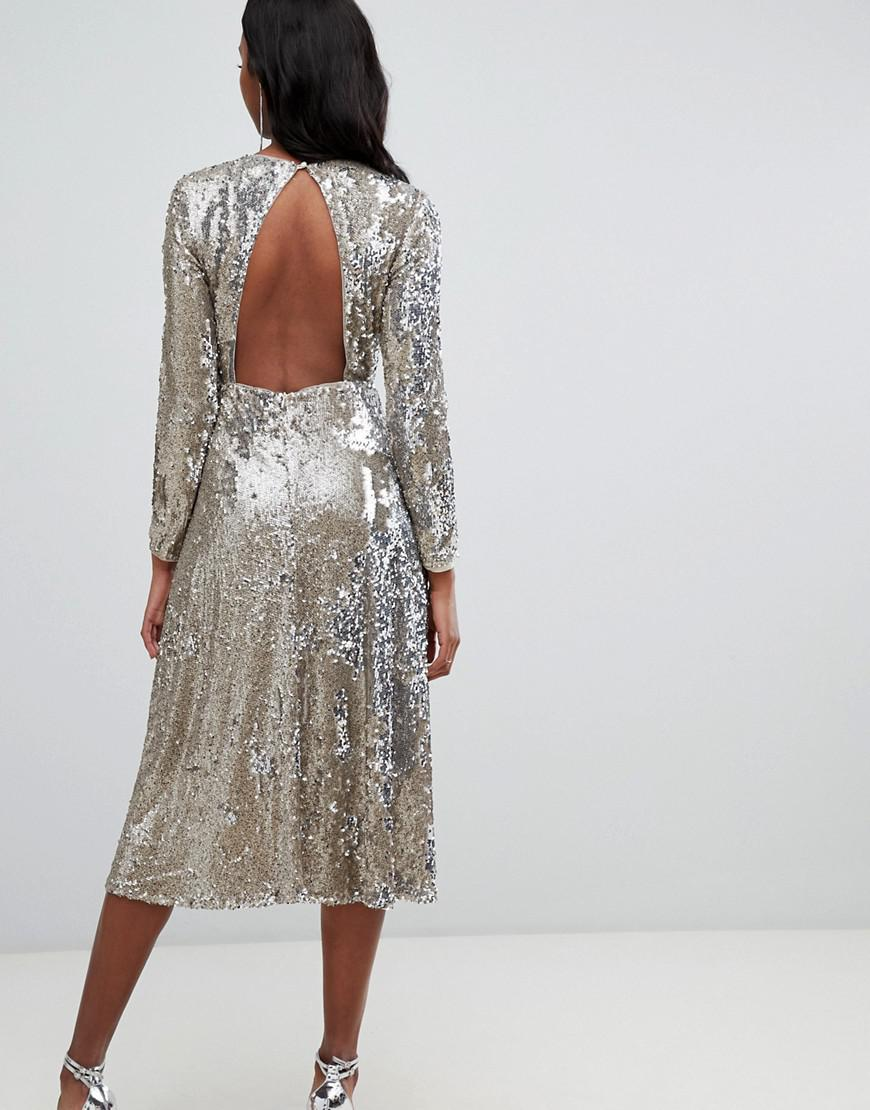 Lyst - TFNC London Long Sleeve Fit And Flare Sequin Midi Dress In Gold in  Metallic d4596bcdb