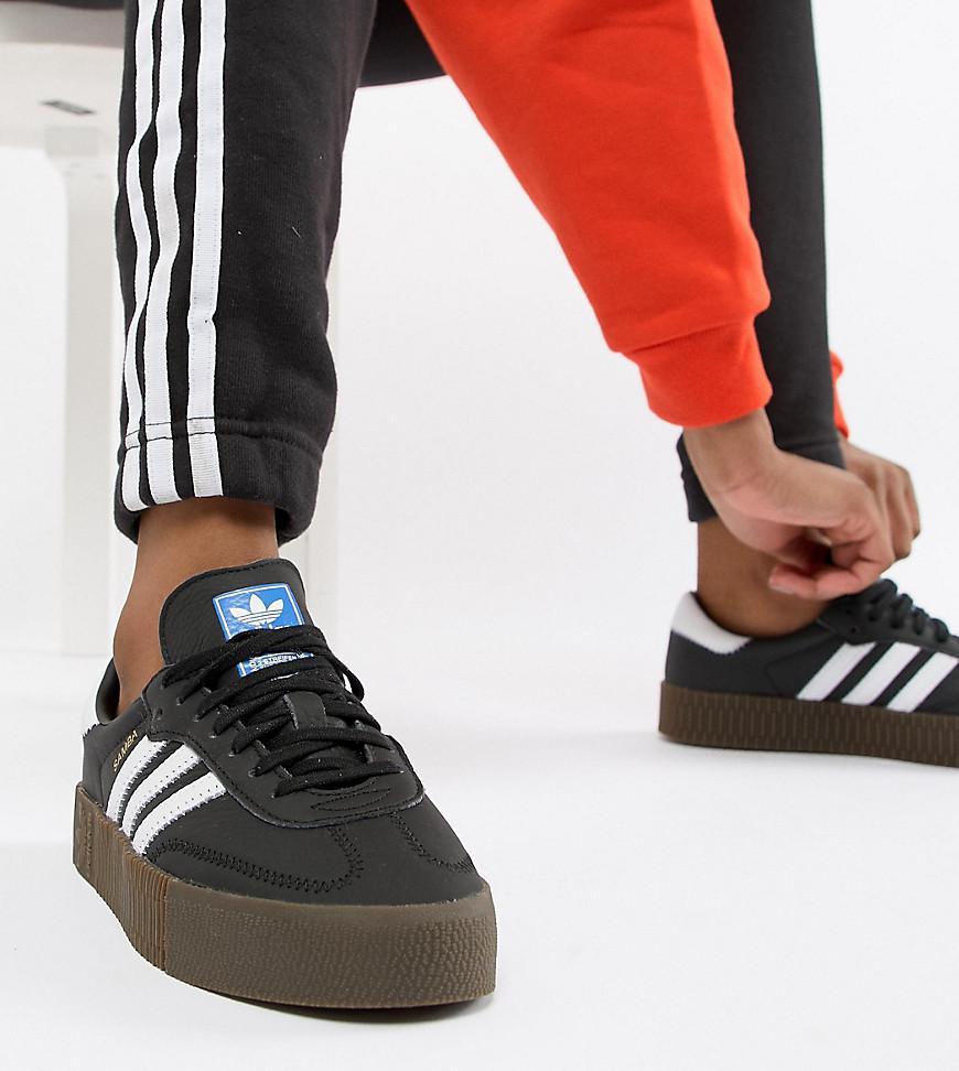 bae11edf8a9 Lyst - adidas Originals Samba Rose Trainers In Black With Dark Gum ...