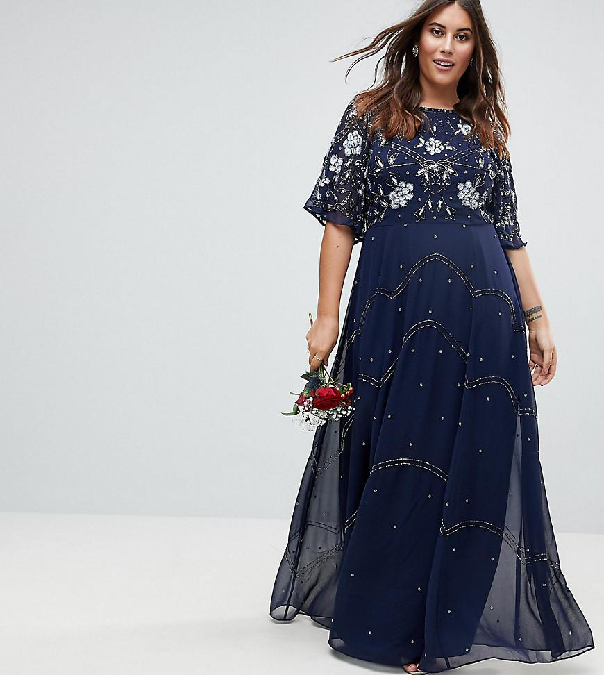 e99ad17397d Asos Wedding Floral Embroidered Dobby Mesh Flutter Sleeve Maxi Dress ...