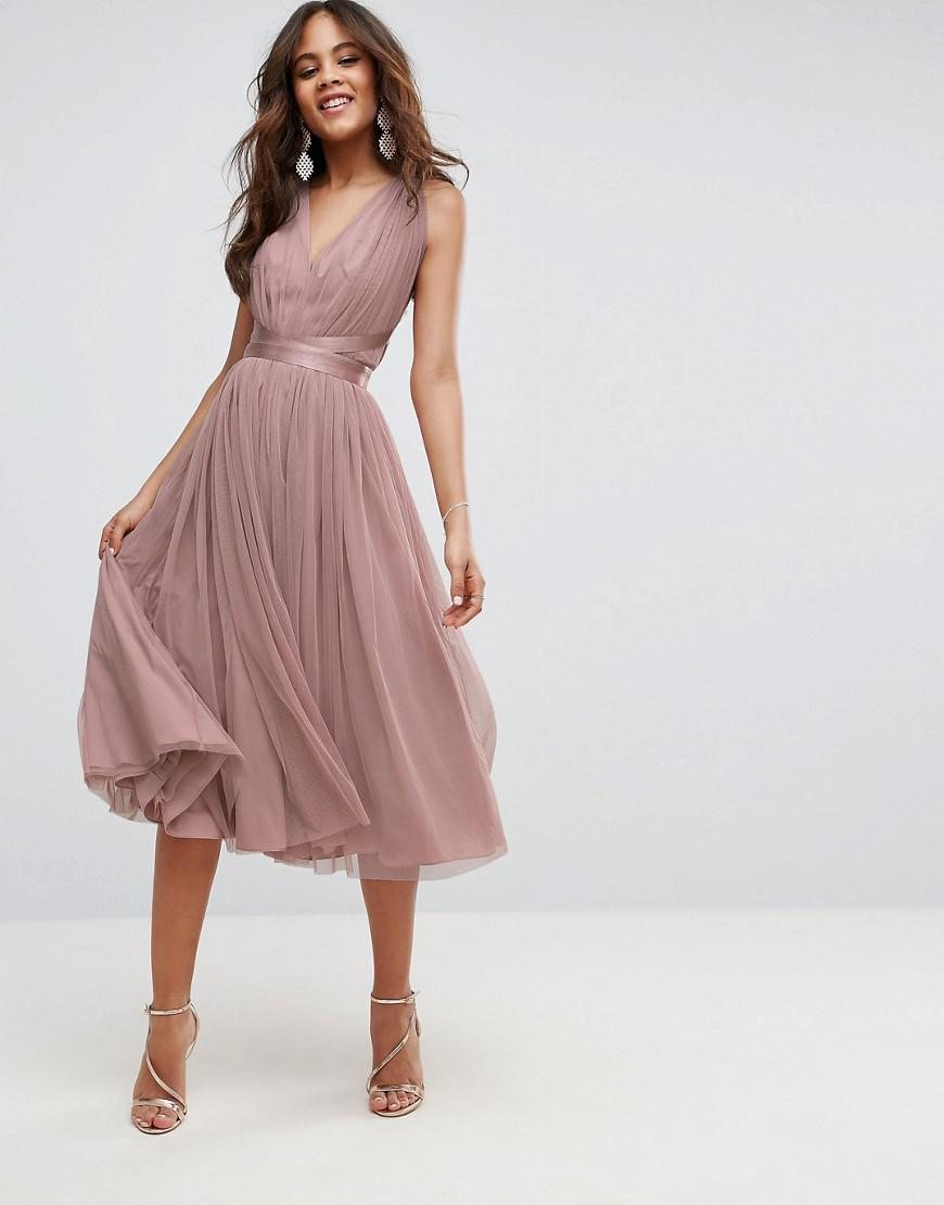 f241198f5cd ASOS Premium Tulle Midi Prom Dress With Ribbon Ties in Pink - Lyst