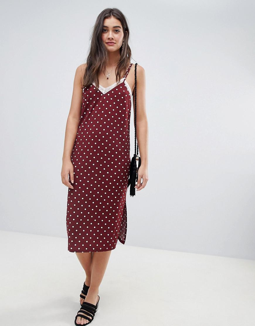 694902e4f51e0 ASOS. Women's Polka Dot Slip Dress With Lace Insert