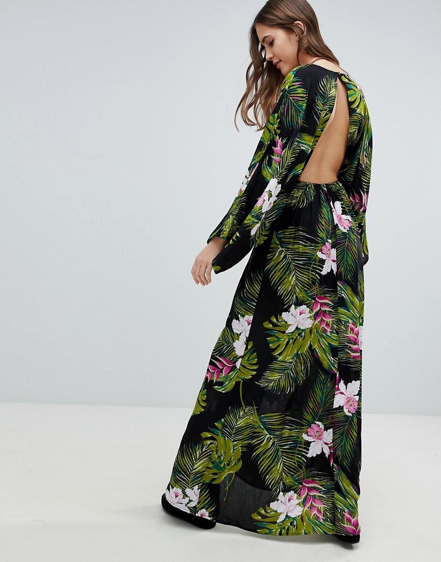 edb2826975ec Lyst - ASOS Asos Design Tall Dark Tropical Palm Print Long Sleeve Plunge  Beach Maxi Dress