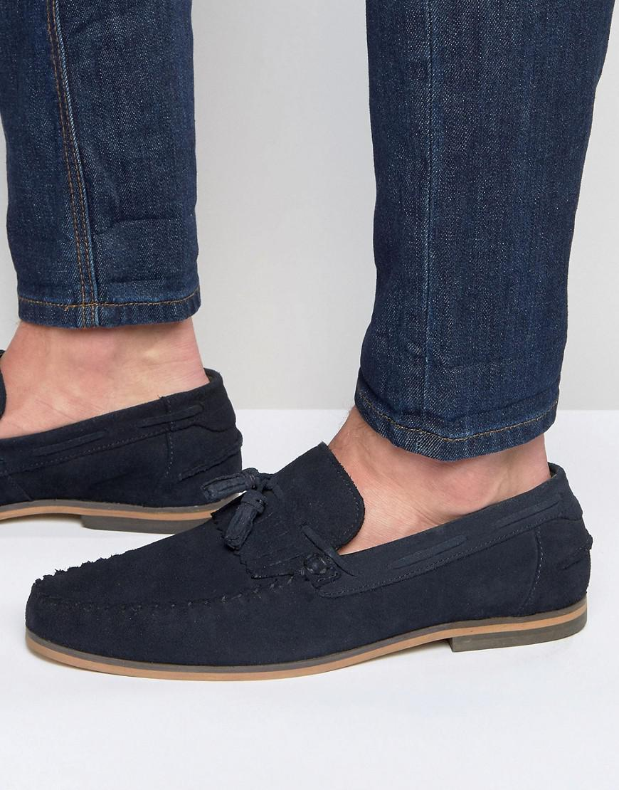 ASOS DESIGN Tassel Loafers In Navy Suede With Natural Sole clearance find great online sale online h2noo
