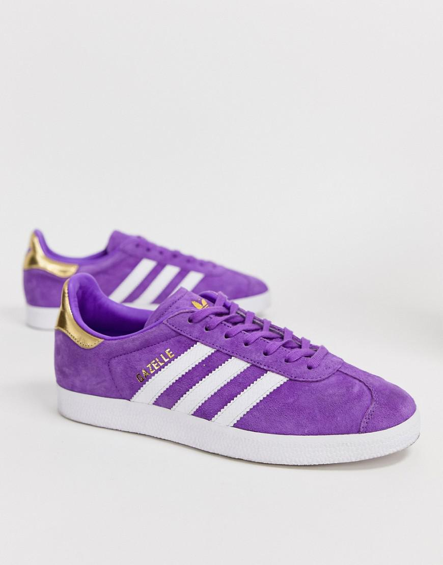 1fa913edb166 Lyst - adidas Originals Tfl Gazelle Sneakers In Purple And White in Purple