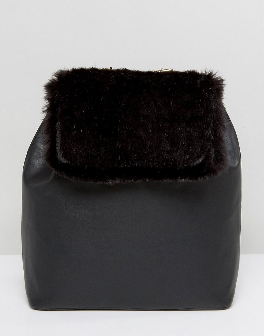 Backpack With Faux Fur Panel - Black French Connection 8xETxsdCt