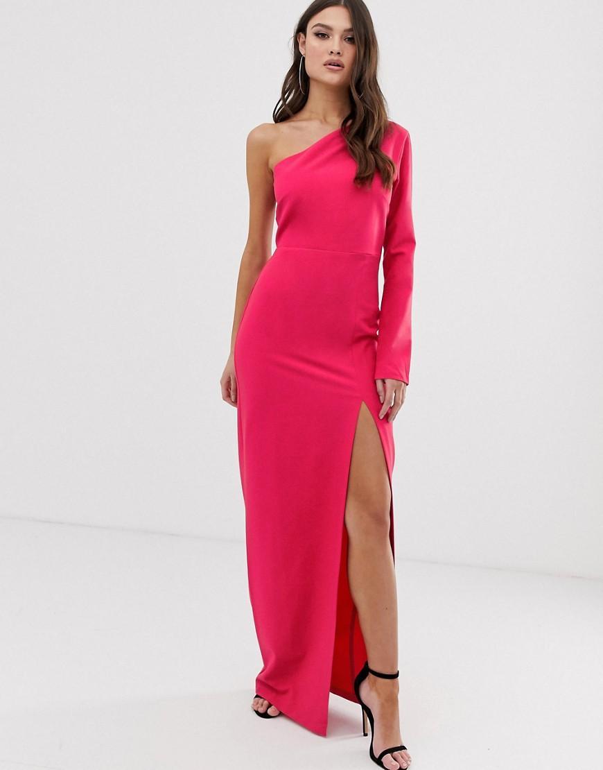 826396fb07ab Vesper One Shoulder Maxi Dress With Split In Hot Pink in Pink - Lyst