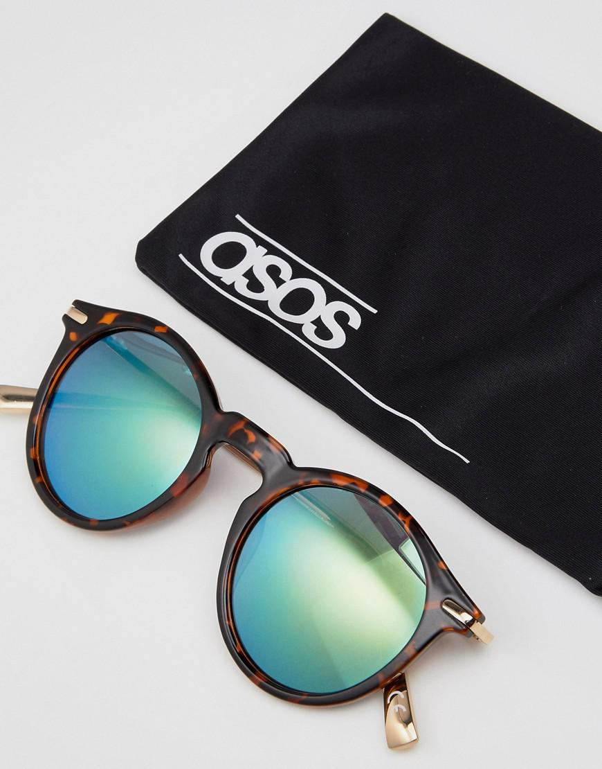 bc03788c3c8ca1 ASOS Asos Round Sunglasses With Metal Arms And Flash Lens In Tort in Brown  - Lyst