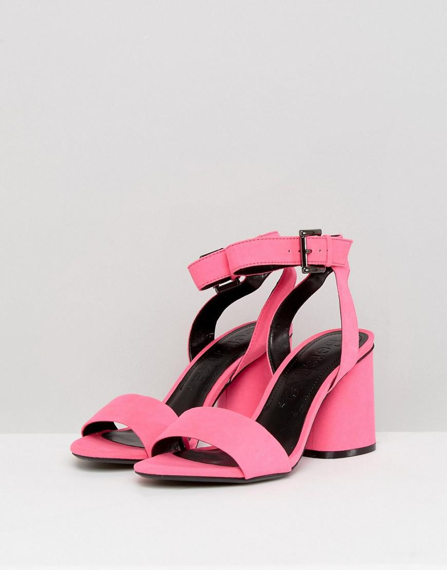 6f94e66df962 Lyst - Bershka Block Heel Strappy Sandal in Pink