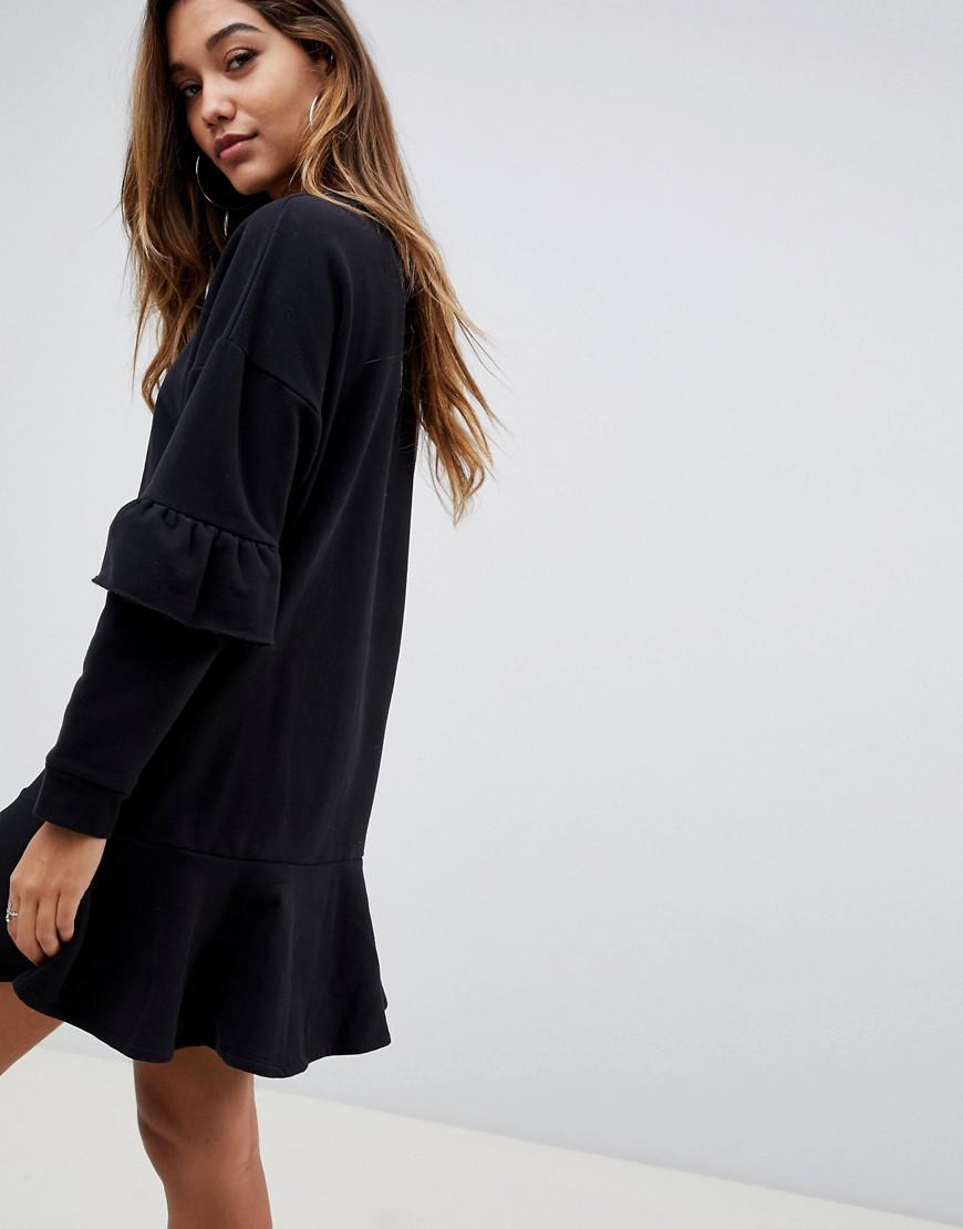 21a53ae7e569 Lyst - ASOS Pep Hem Sweat Dress With Frill Sleeve in Black