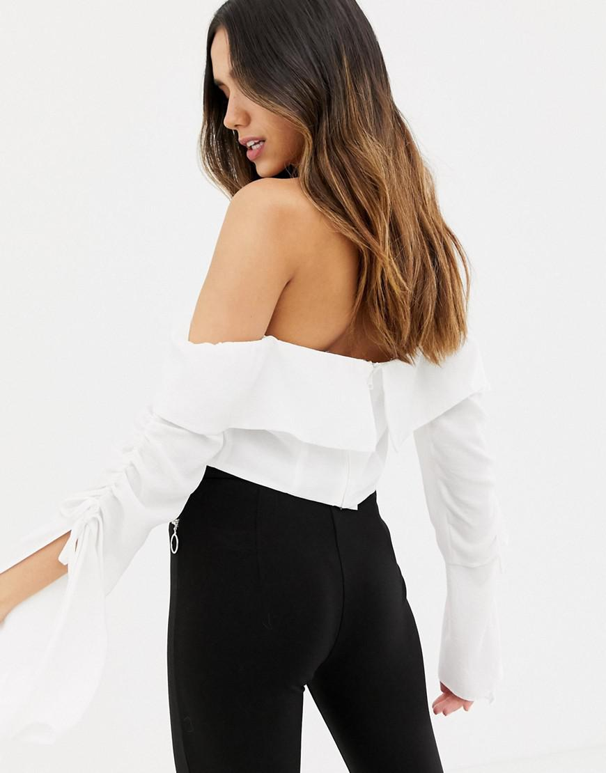 c53f451108aed Lyst - ASOS Long Sleeve Bardot Top With Ruched Flared Sleeve in White